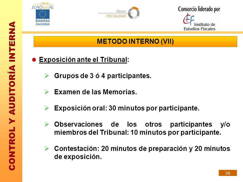 METODO INTERNO (VII) Exposición ante el Tribunal: Grupos de 3 ó 4 participantes. Examen de las Memorias.