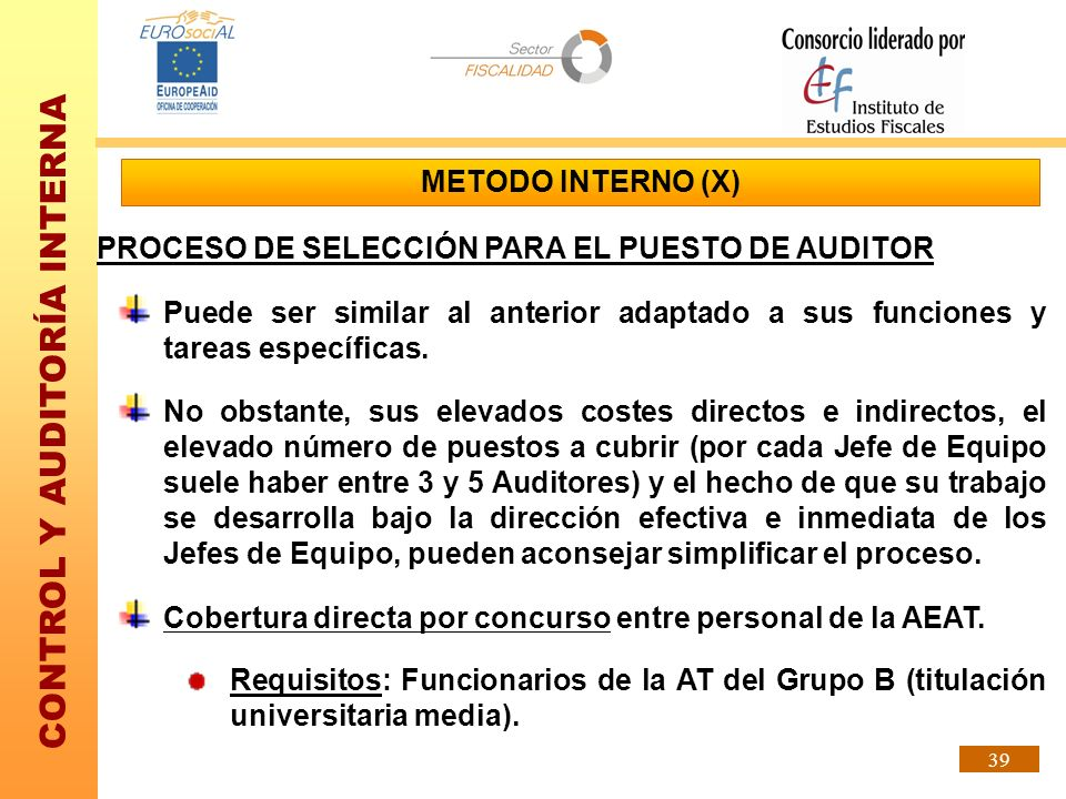 METODO INTERNO (X)PROCESO DE SELECCIÓN PARA EL PUESTO DE AUDITOR. Puede ser similar al anterior adaptado a sus funciones y tareas específicas.