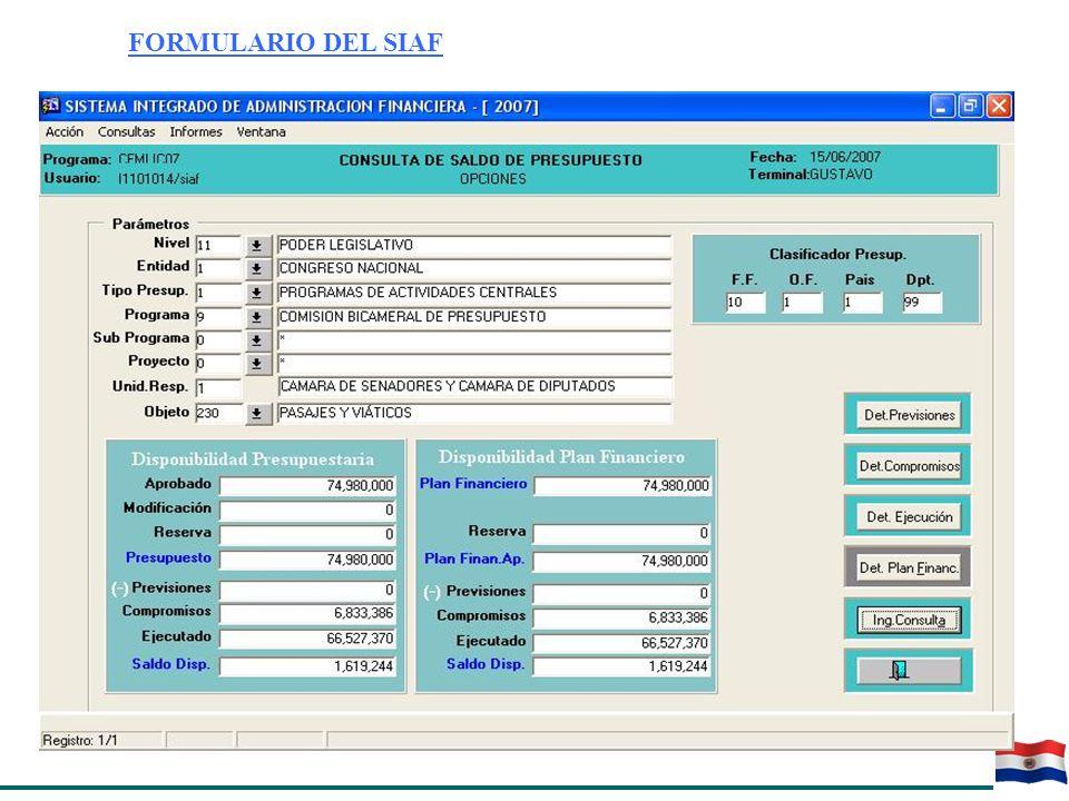 FORMULARIO DEL SIAF REPORTE DE INFORME DEL SIAF PARA PROGRAMACION Y CONSULTA