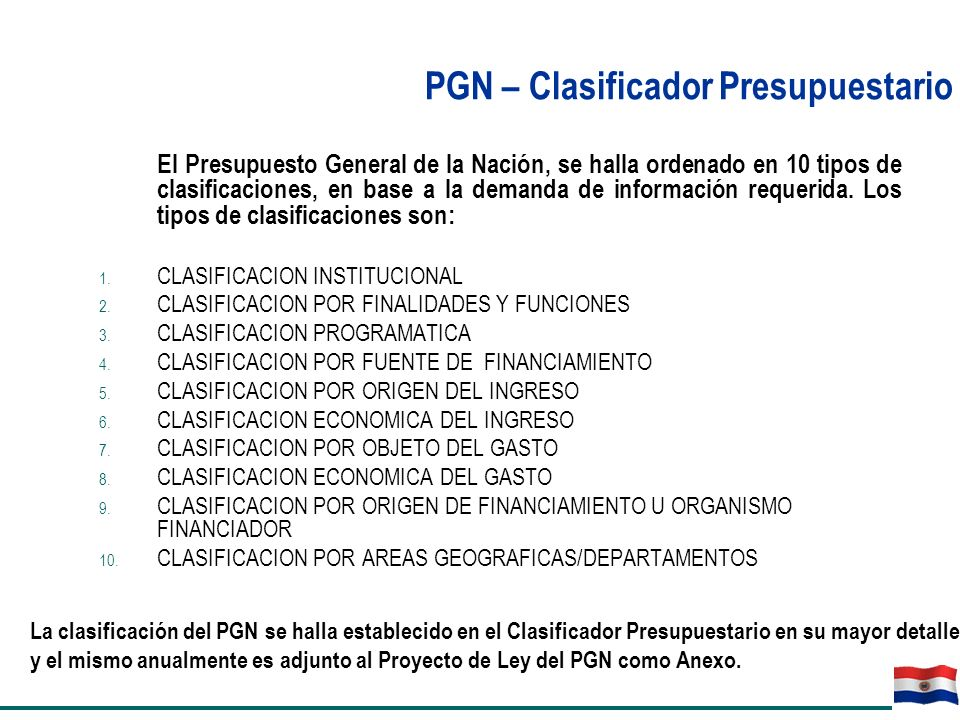 PGN – Clasificador Presupuestario