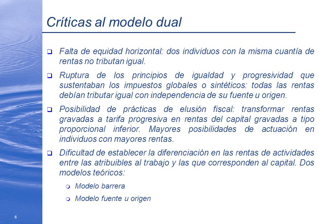 Críticas al modelo dual