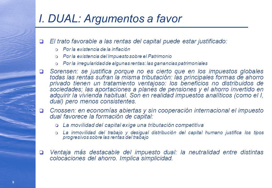I. DUAL: Argumentos a favor