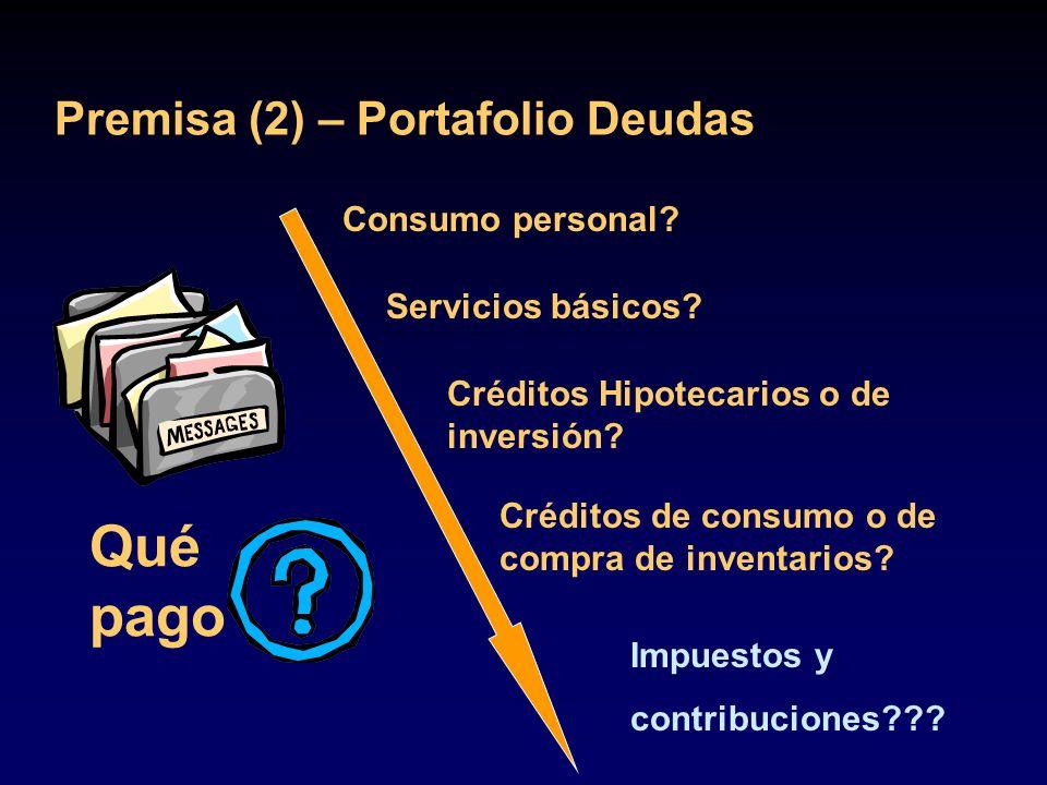 Qué pago Premisa (2) – Portafolio Deudas Consumo personal