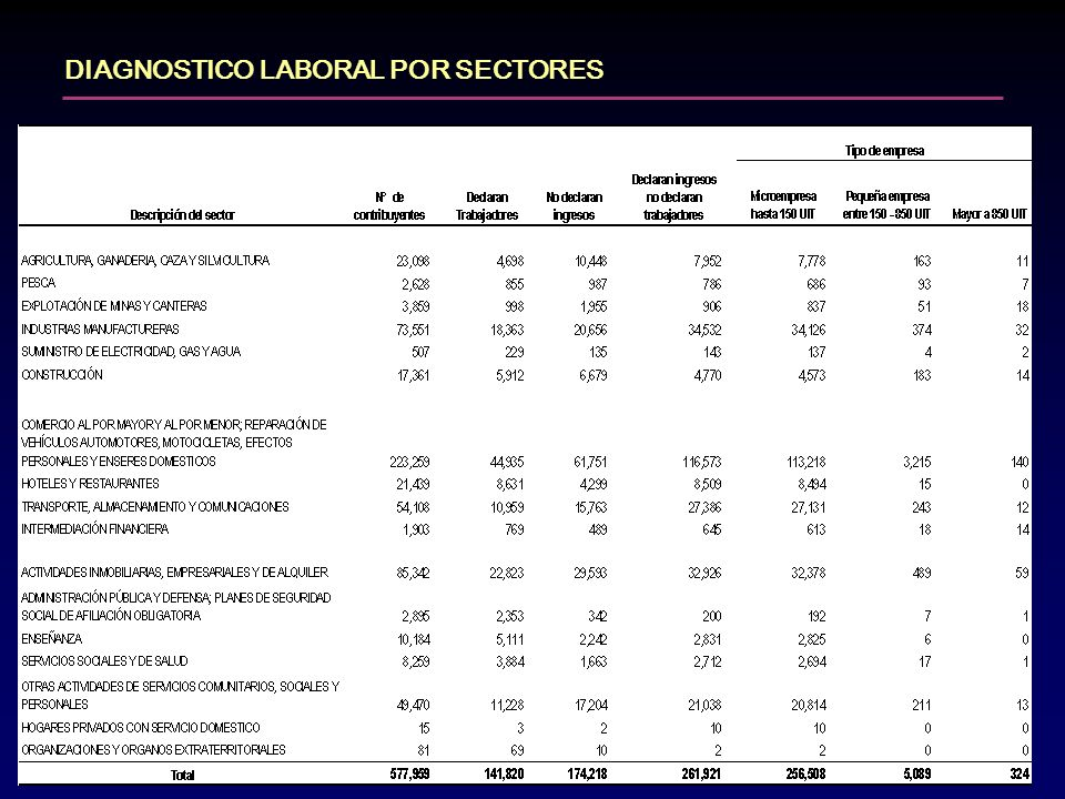 DIAGNOSTICO LABORAL POR SECTORES