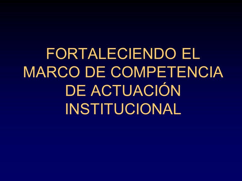 FORTALECIENDO EL MARCO DE COMPETENCIA DE ACTUACIÓN INSTITUCIONAL
