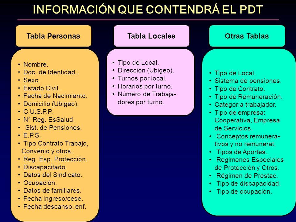 INFORMACIÓN QUE CONTENDRÁ EL PDT