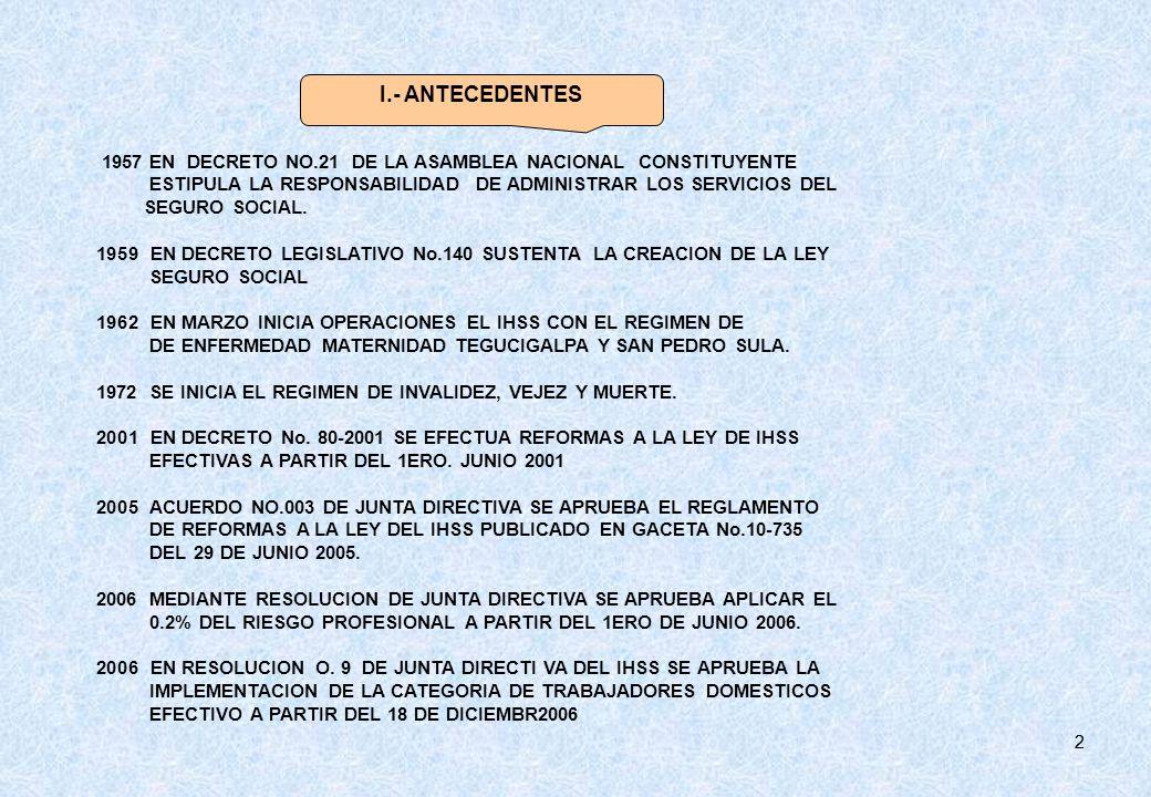 I.- ANTECEDENTES 1957 EN DECRETO NO.21 DE LA ASAMBLEA NACIONAL CONSTITUYENTE. ESTIPULA LA RESPONSABILIDAD DE ADMINISTRAR LOS SERVICIOS DEL.