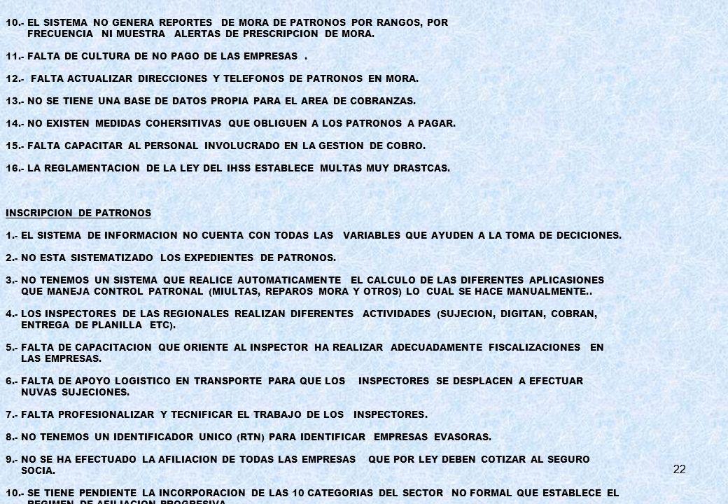 10.- EL SISTEMA NO GENERA REPORTES DE MORA DE PATRONOS POR RANGOS, POR