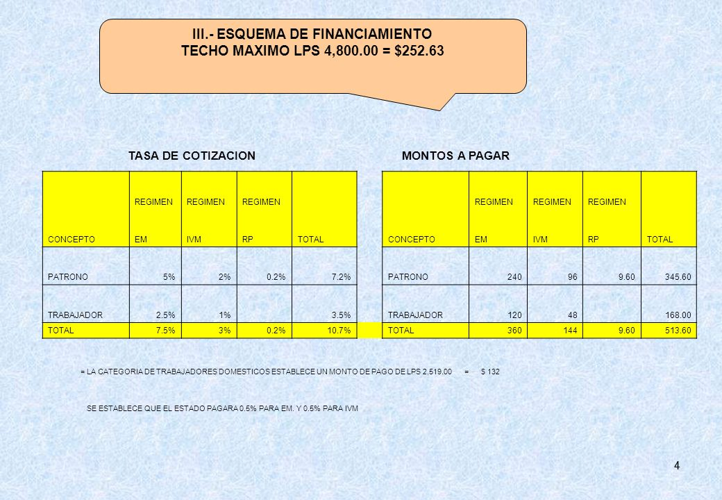 III.- ESQUEMA DE FINANCIAMIENTO