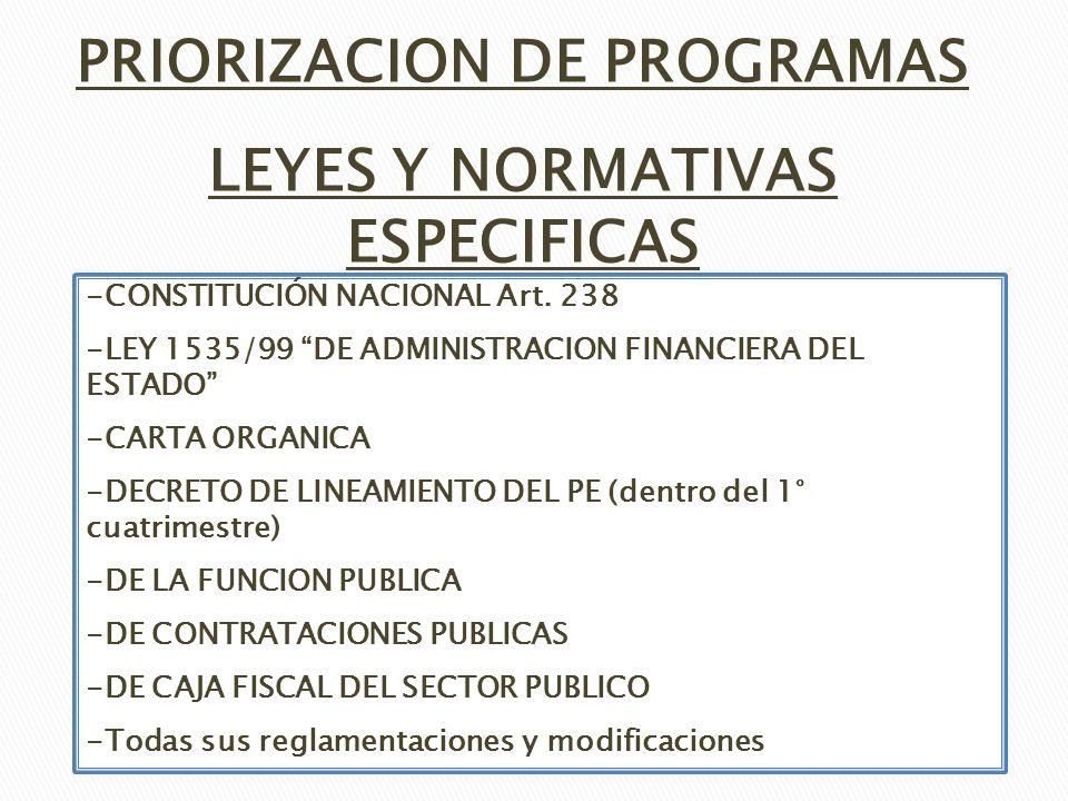 PRIORIZACION DE PROGRAMAS LEYES Y NORMATIVAS ESPECIFICAS