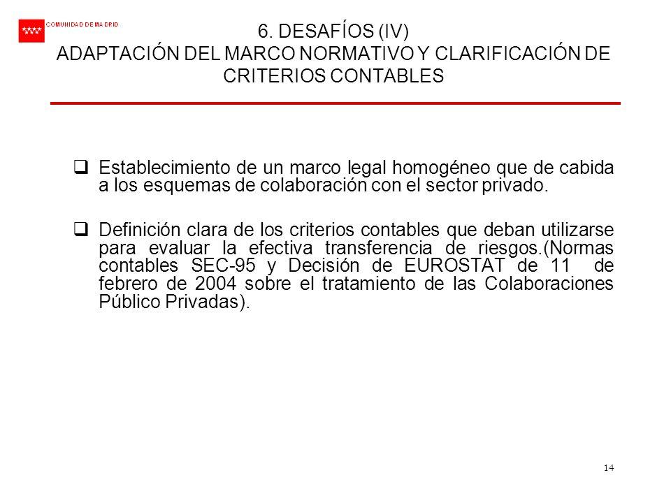 6. DESAFÍOS (IV) ADAPTACIÓN DEL MARCO NORMATIVO Y CLARIFICACIÓN DE CRITERIOS CONTABLES