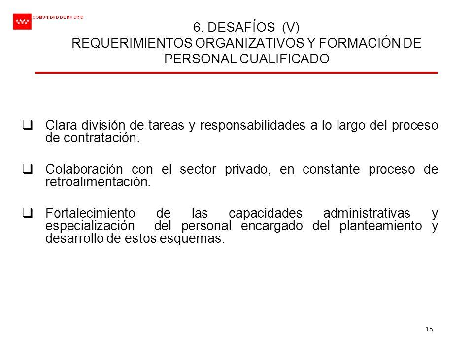 6. DESAFÍOS (V) REQUERIMIENTOS ORGANIZATIVOS Y FORMACIÓN DE PERSONAL CUALIFICADO