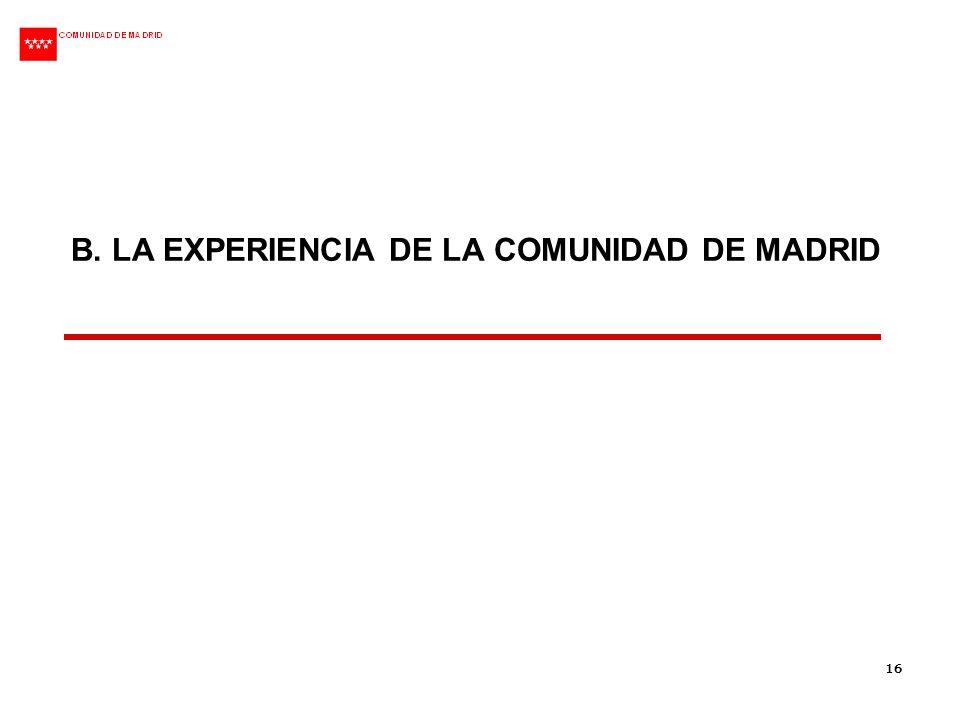 B. LA EXPERIENCIA DE LA COMUNIDAD DE MADRID