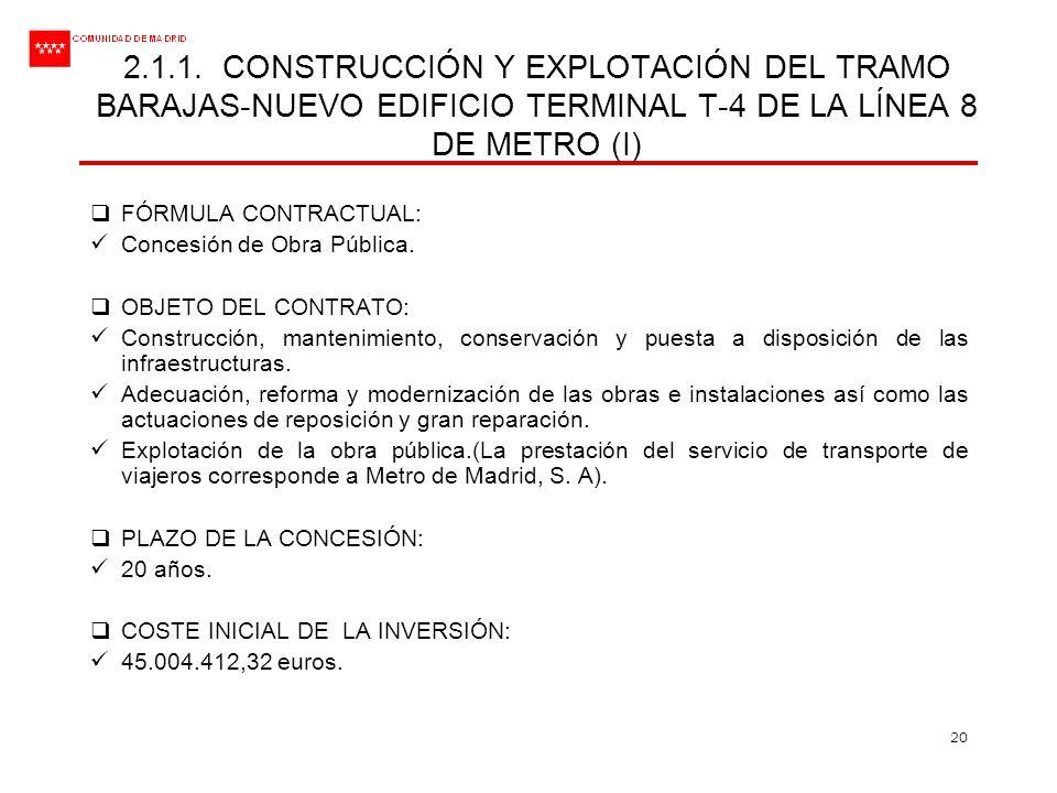 2.1.1. CONSTRUCCIÓN Y EXPLOTACIÓN DEL TRAMO BARAJAS-NUEVO EDIFICIO TERMINAL T-4 DE LA LÍNEA 8 DE METRO (I)