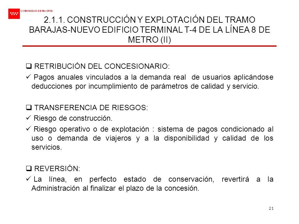 2.1.1. CONSTRUCCIÓN Y EXPLOTACIÓN DEL TRAMO BARAJAS-NUEVO EDIFICIO TERMINAL T-4 DE LA LÍNEA 8 DE METRO (II)