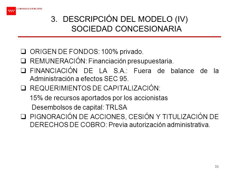 DESCRIPCIÓN DEL MODELO (IV) SOCIEDAD CONCESIONARIA