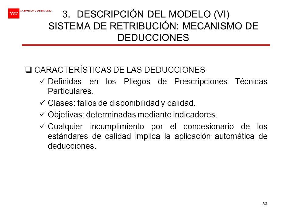 DESCRIPCIÓN DEL MODELO (VI) SISTEMA DE RETRIBUCIÓN: MECANISMO DE DEDUCCIONES