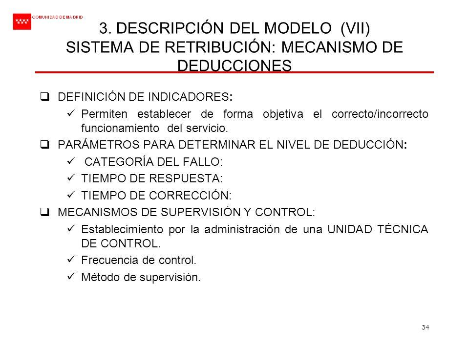 3. DESCRIPCIÓN DEL MODELO (VII) SISTEMA DE RETRIBUCIÓN: MECANISMO DE DEDUCCIONES