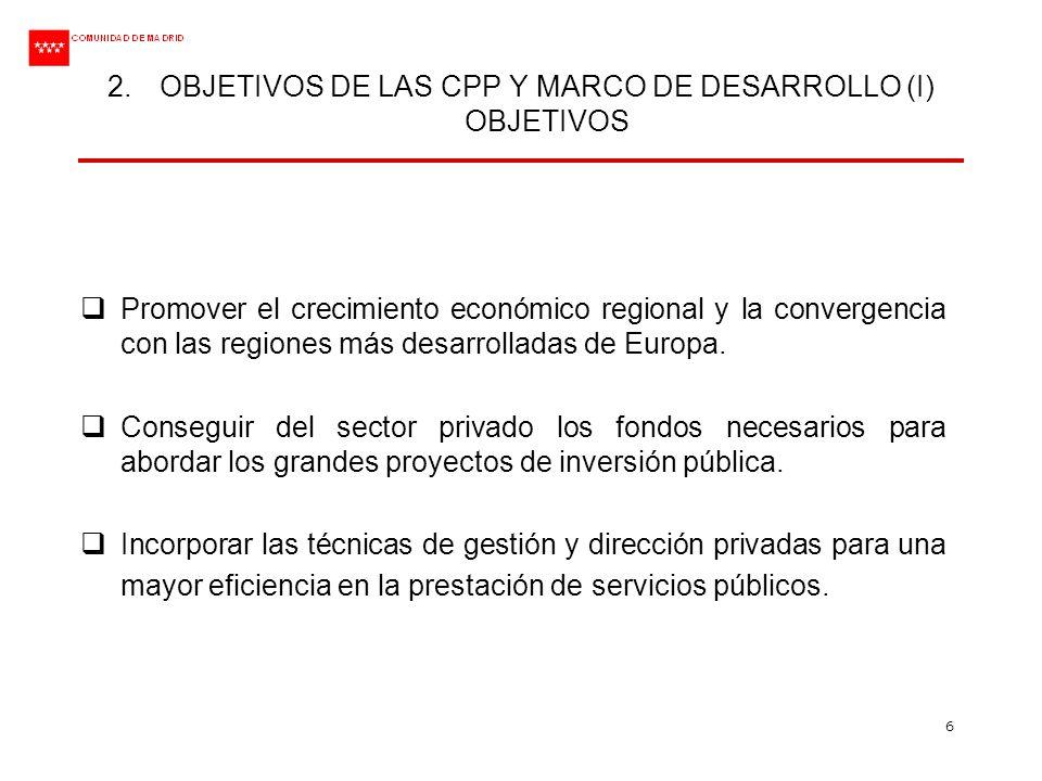 OBJETIVOS DE LAS CPP Y MARCO DE DESARROLLO (I) OBJETIVOS