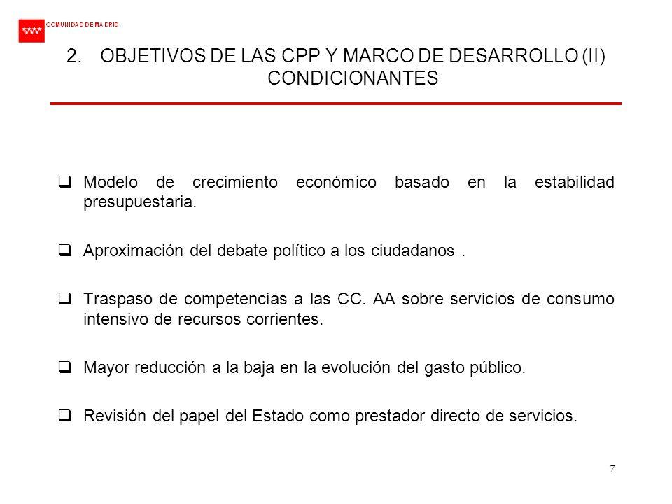 OBJETIVOS DE LAS CPP Y MARCO DE DESARROLLO (II) CONDICIONANTES
