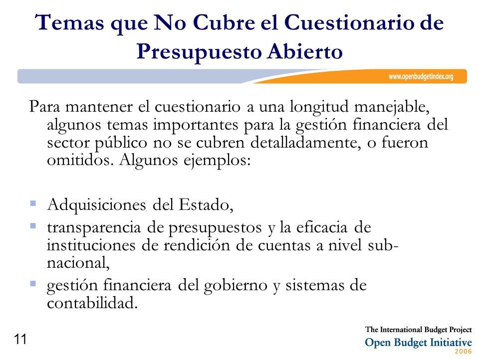 Temas que No Cubre el Cuestionario de Presupuesto Abierto