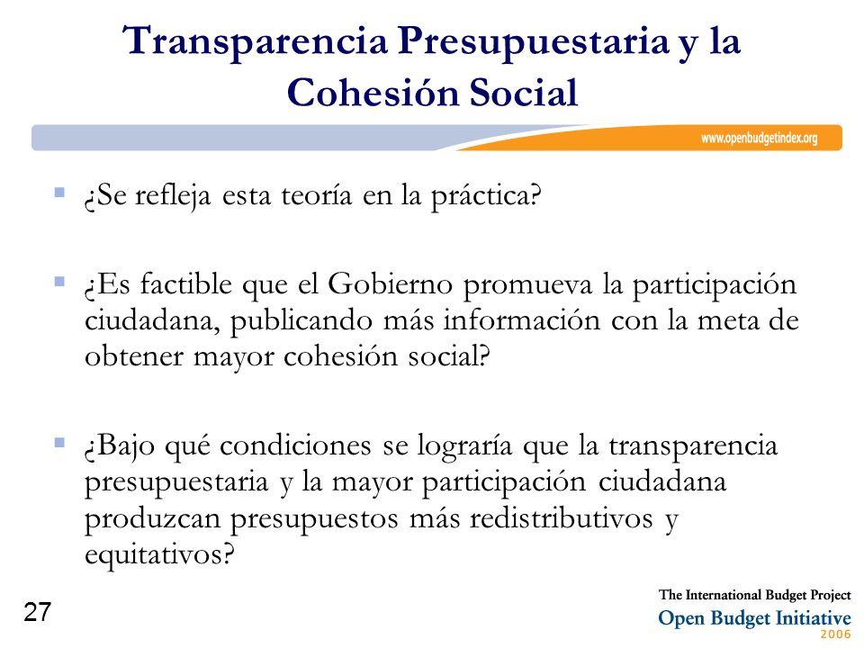 Transparencia Presupuestaria y la Cohesión Social