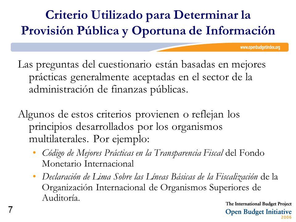 Criterio Utilizado para Determinar la Provisión Pública y Oportuna de Información
