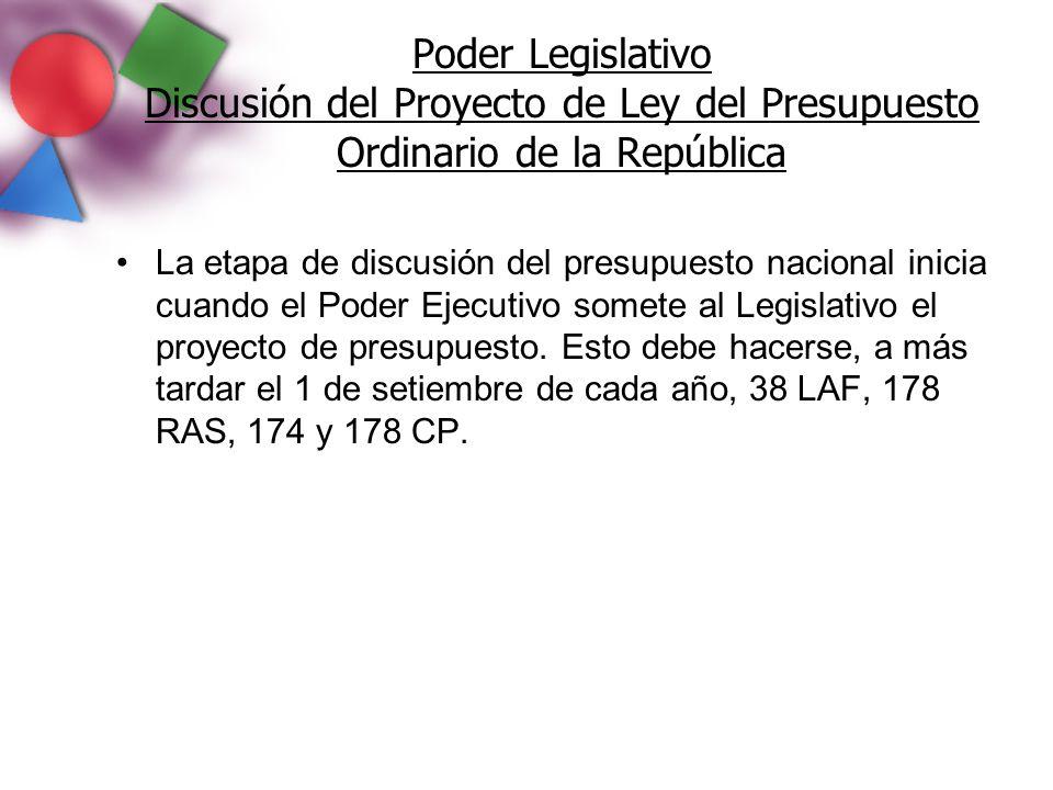 Poder Legislativo Discusión del Proyecto de Ley del Presupuesto Ordinario de la República