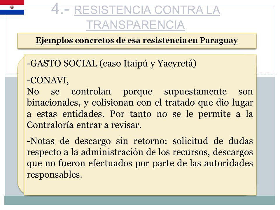 4.- RESISTENCIA CONTRA LA TRANSPARENCIA