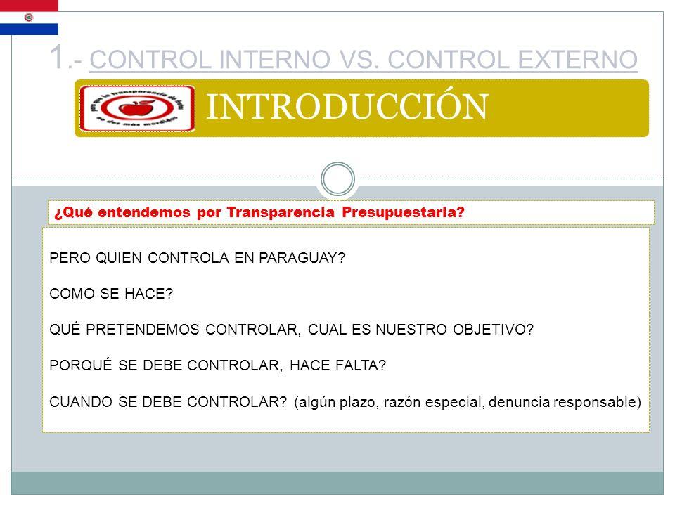 1.- CONTROL INTERNO VS. CONTROL EXTERNO