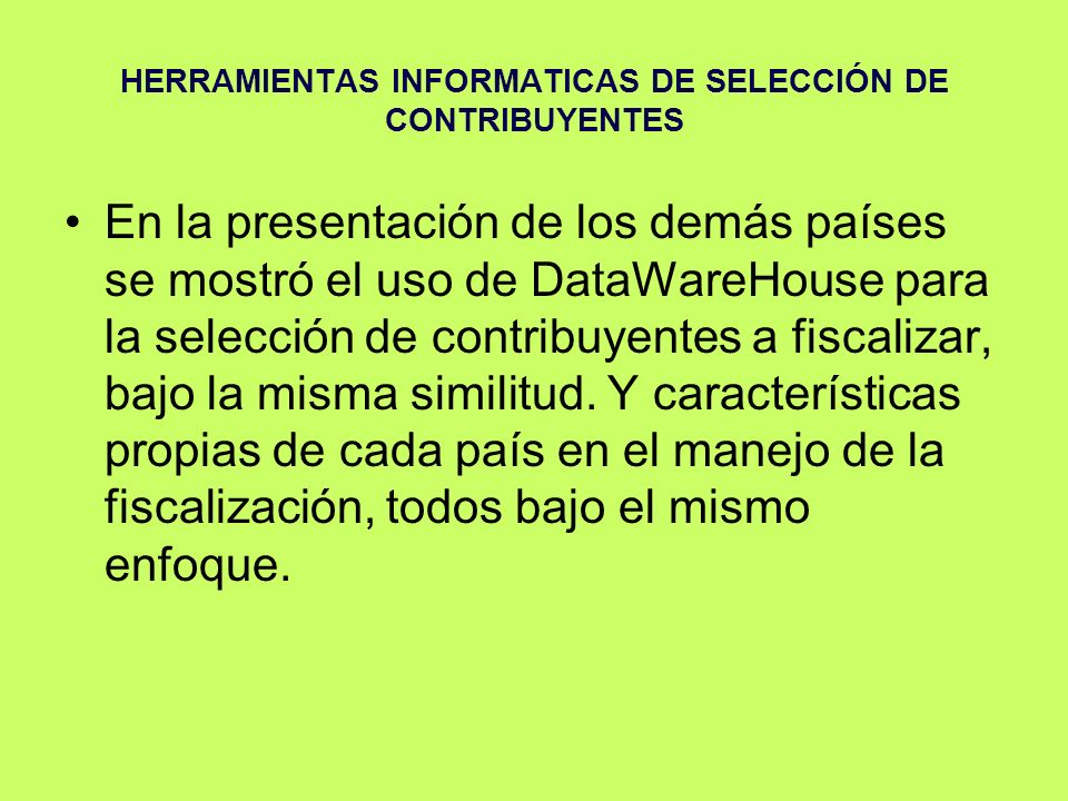 HERRAMIENTAS INFORMATICAS DE SELECCIÓN DE CONTRIBUYENTES