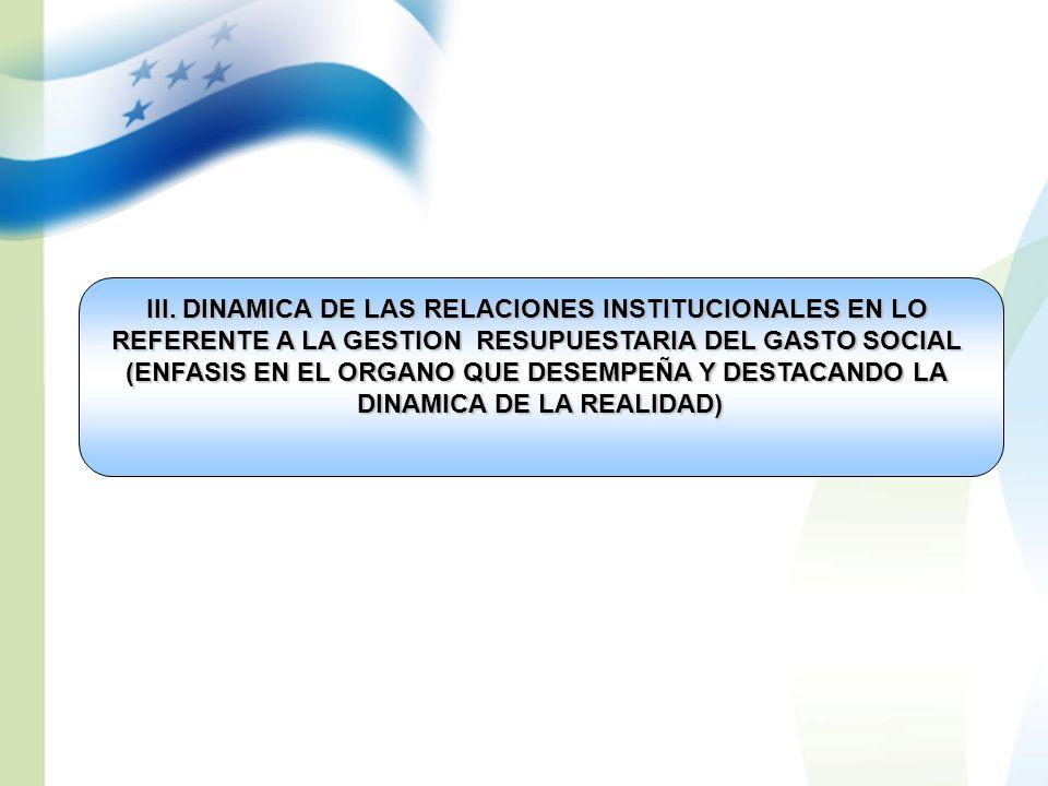 III. DINAMICA DE LAS RELACIONES INSTITUCIONALES EN LO