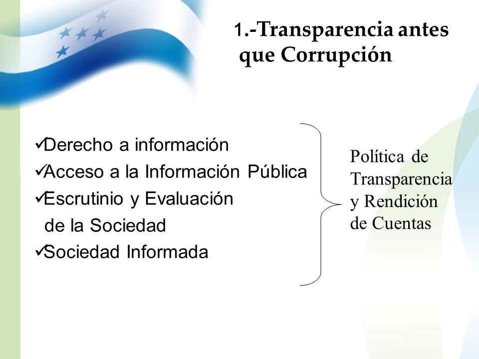 que Corrupción 1.-Transparencia antes Derecho a información