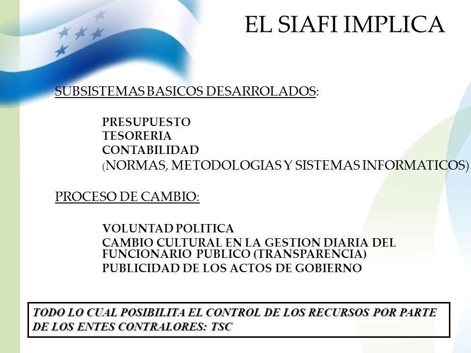 EL SIAFI IMPLICA SUBSISTEMAS BASICOS DESARROLADOS: PROCESO DE CAMBIO: