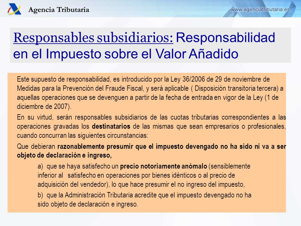 Responsables subsidiarios: Responsabilidad en el Impuesto sobre el Valor Añadido