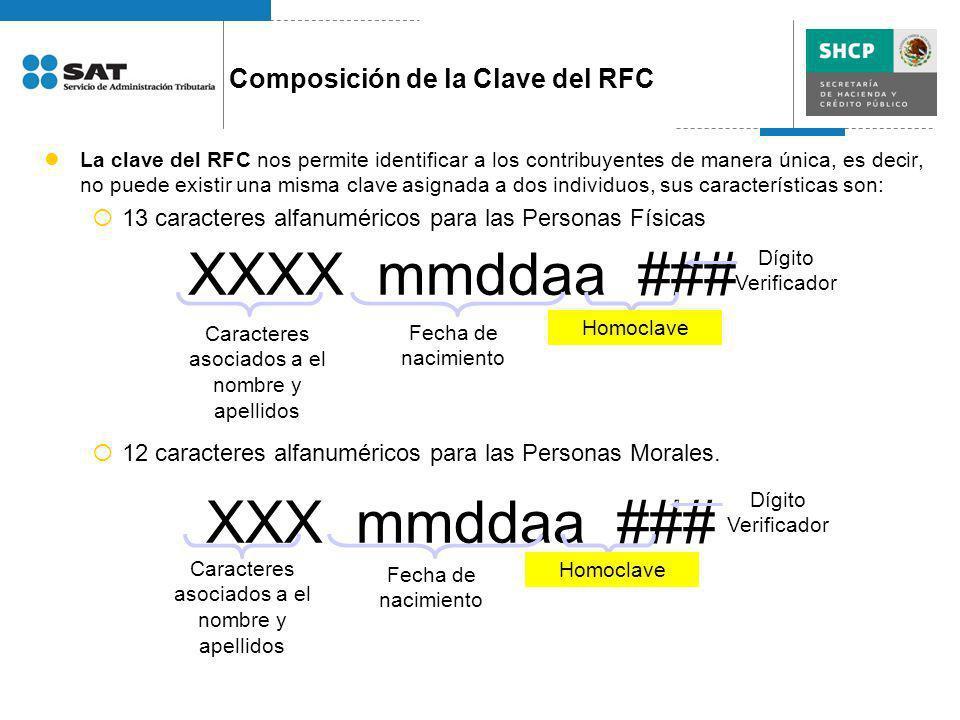 XXXX mmddaa ### XXX mmddaa ### Composición de la Clave del RFC