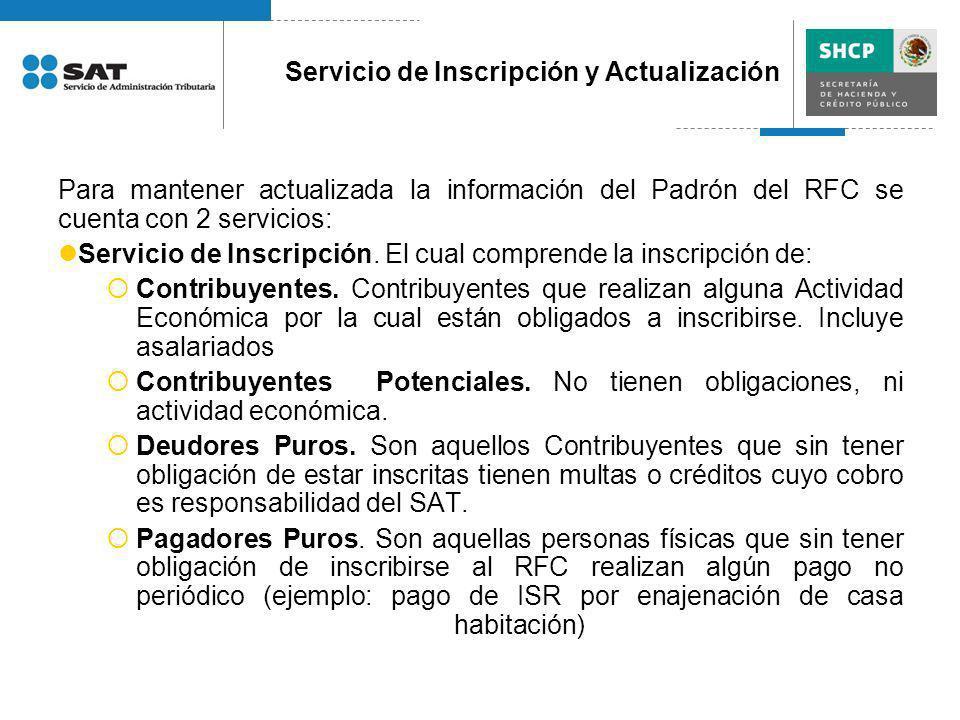 Servicio de Inscripción y Actualización
