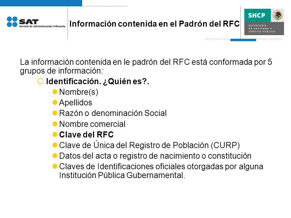 Información contenida en el Padrón del RFC