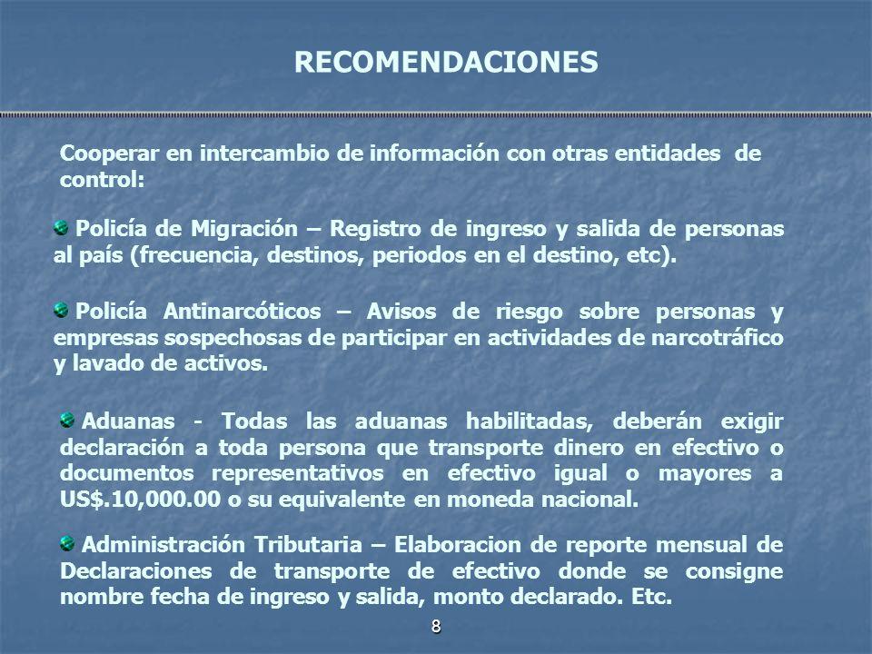 RECOMENDACIONESCooperar en intercambio de información con otras entidades de control: