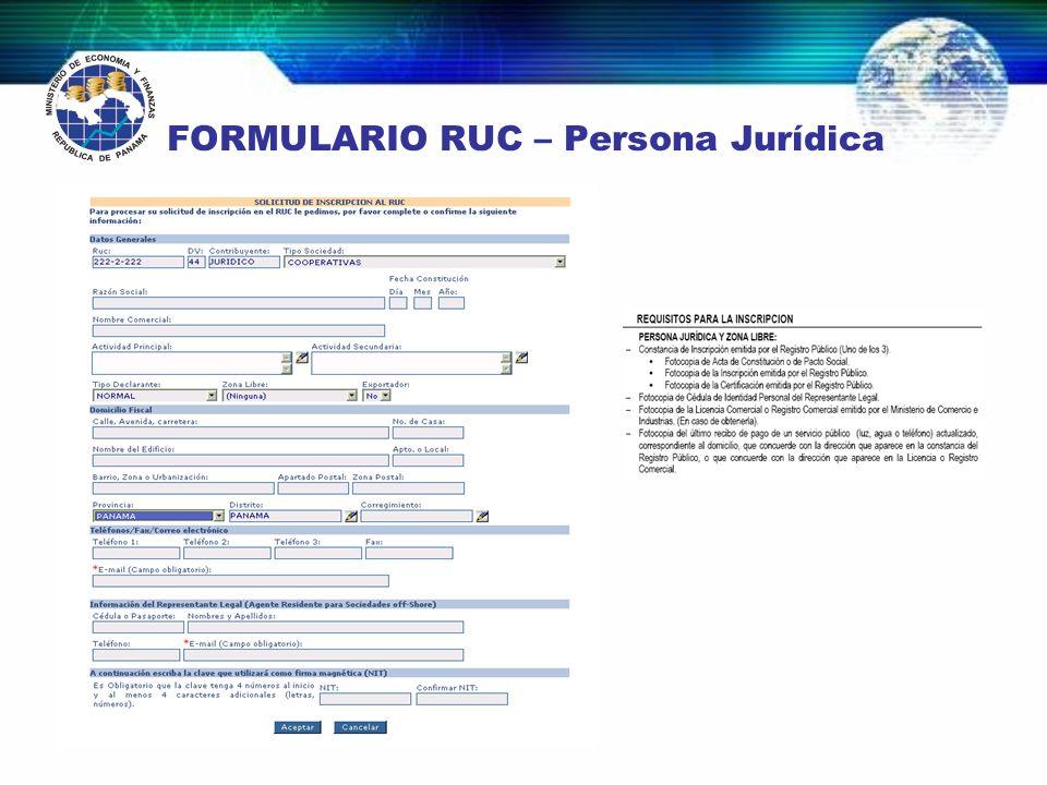 FORMULARIO RUC – Persona Jurídica