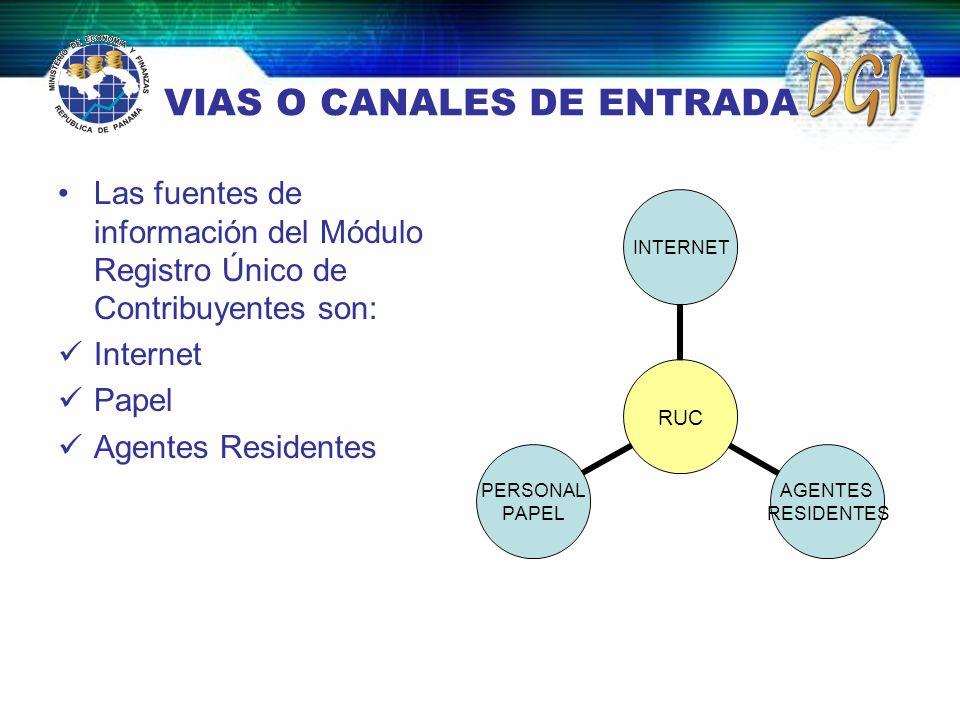 VIAS O CANALES DE ENTRADA