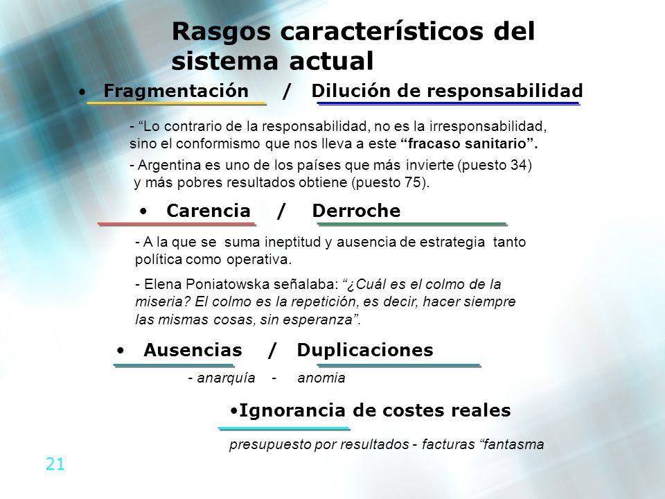 Fragmentación / Dilución de responsabilidad Ausencias / Duplicaciones
