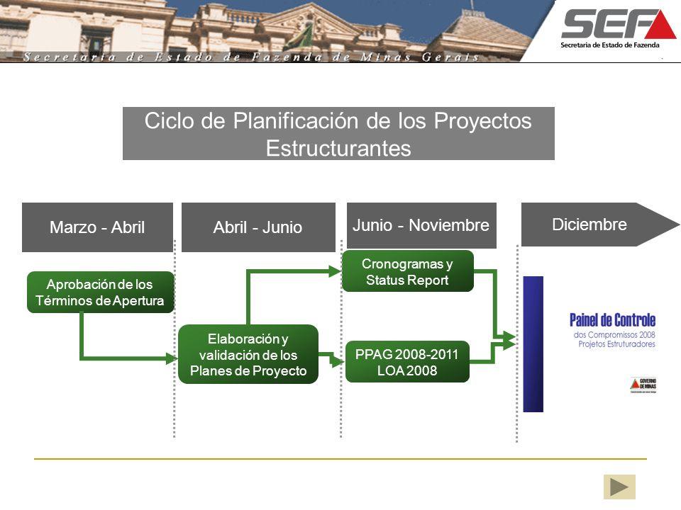 Ciclo de Planificación de los Proyectos Estructurantes