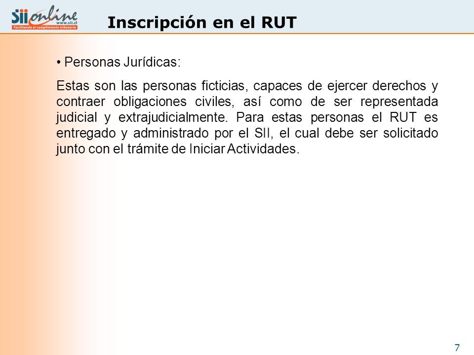 Inscripción en el RUT Personas Jurídicas: