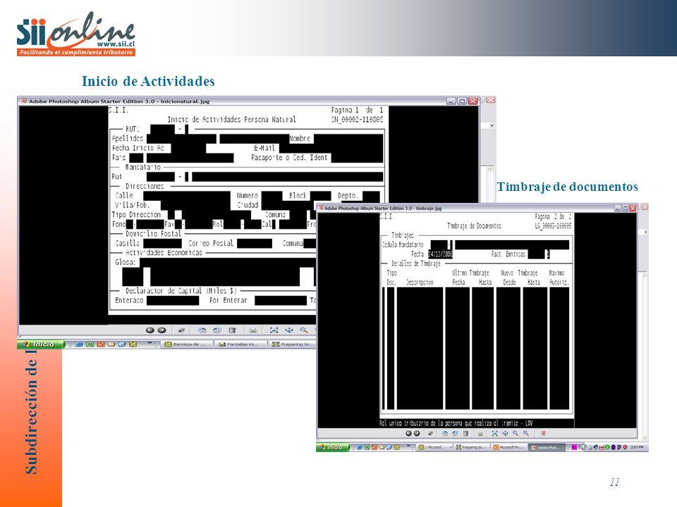 Inicio de Actividades Timbraje de documentos