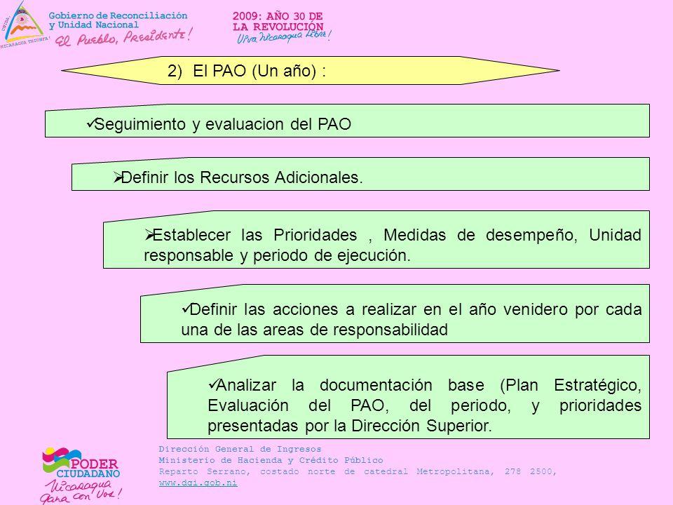 El PAO (Un año) : Seguimiento y evaluacion del PAO. Definir los Recursos Adicionales.