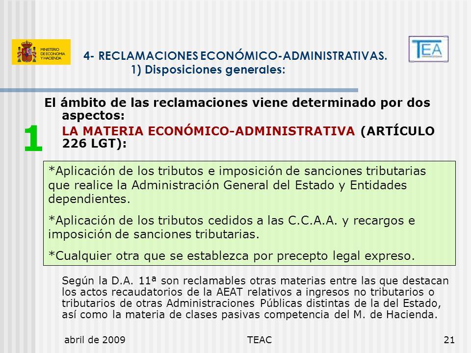 1 4- RECLAMACIONES ECONÓMICO-ADMINISTRATIVAS.