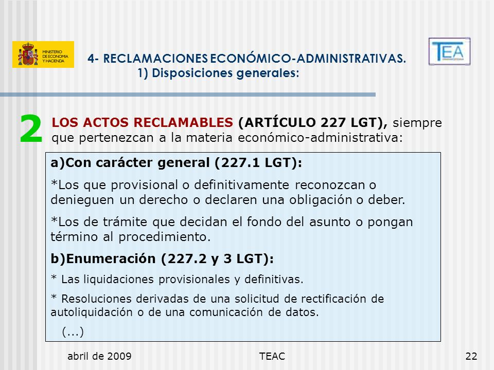 2 4- RECLAMACIONES ECONÓMICO-ADMINISTRATIVAS.