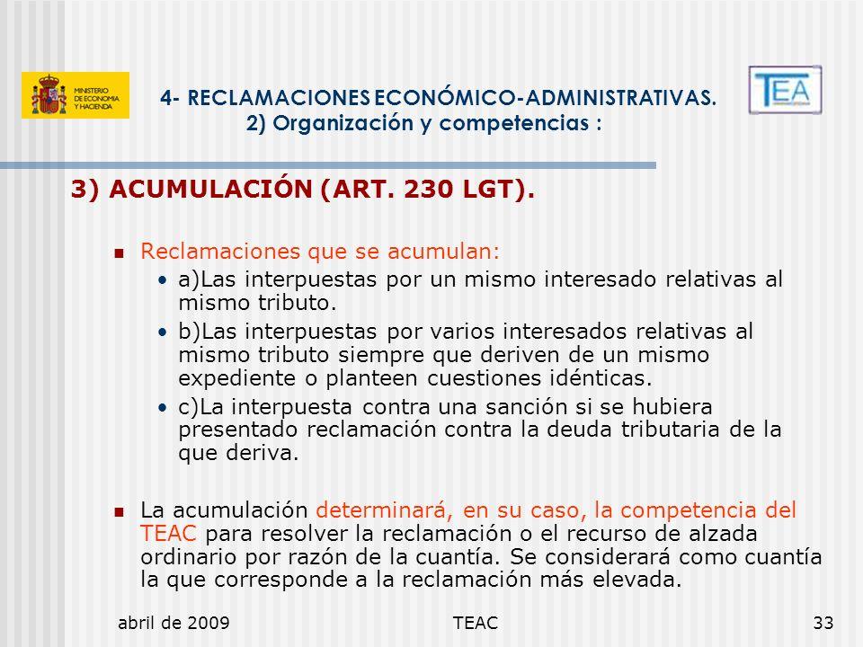 3) ACUMULACIÓN (ART. 230 LGT).