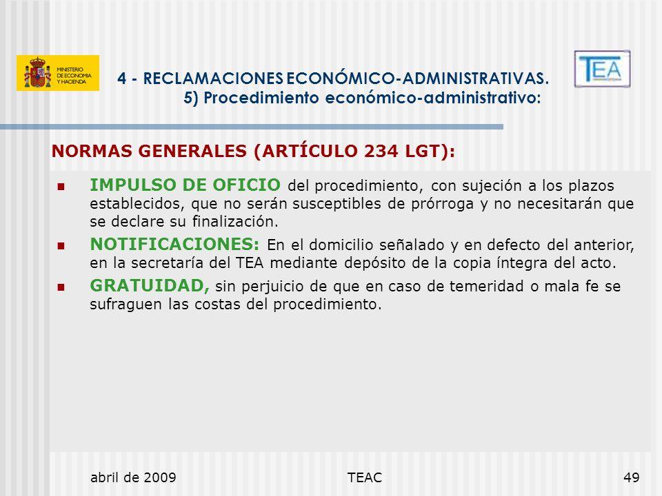 NORMAS GENERALES (ARTÍCULO 234 LGT):